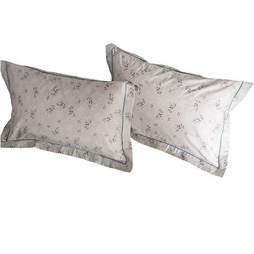 HIGHBUY 100 Percent Cotton Floral Print Pillowcases Set 2pcs, 20Inches by 26Inches Boys Girls Kids Queen Decorative Pillow Cover,Set of 2,Standard,Envelope Closure Standard Pillowcase