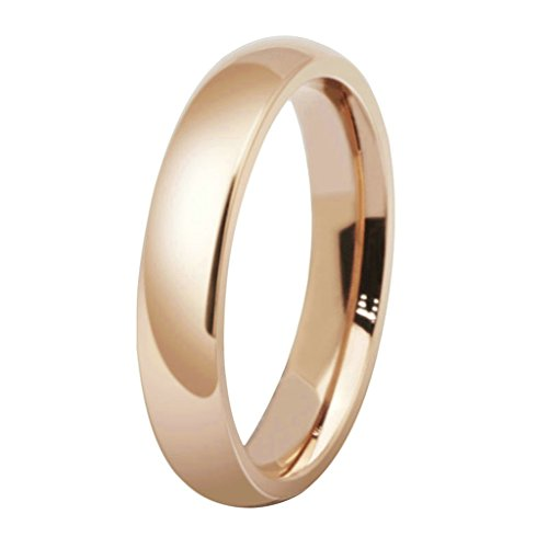 MoAndy 4MM 18K Rose Gold Plated Smooth Design Classic Wedding Rings for Women Her Size ()