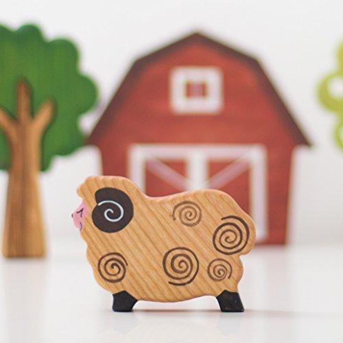 Wooden Sheep toy Ram figurine Ewe toy Farm animals