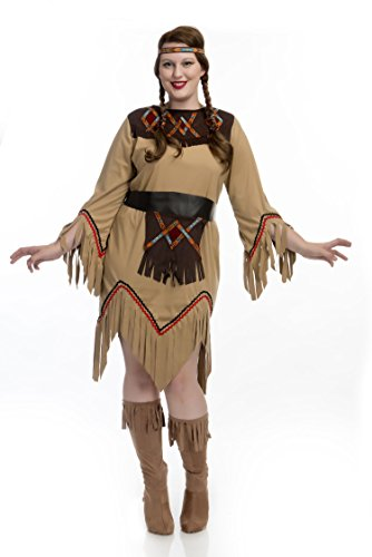 Charades Women's Plus Size Sacajawea Indian Maiden Costume, tan, 1X -