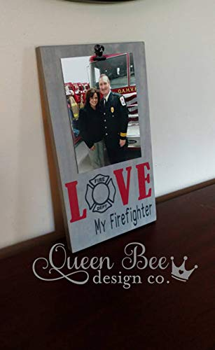 Firefighter Wood Frame - CELYCASY Love My Firefighter Picture Frame.Firefighter Frame.Fire Man Frame.Dad Frame.Picture Frame.Grandpa Frame. Firefighter Gift Idea.