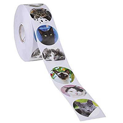 Cat Fan related Products Cat Stickers, Sticker Roll (1.5 in, 1000 Pieces) [tag]