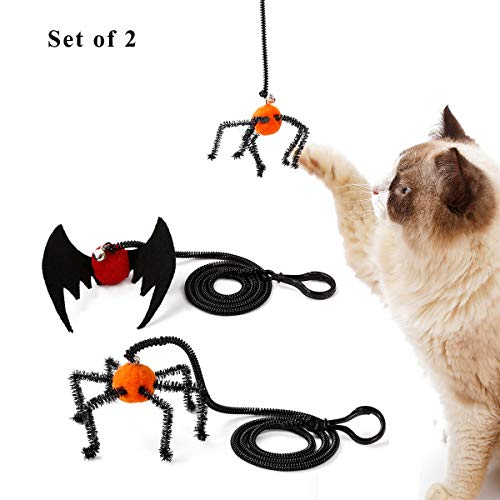 Speedy Pet Cat Kitten Toys, Cat Halloween Spider Bat Design Springs Finger Interactive Pet Teaser Toy with Bell (Spider + Bat)