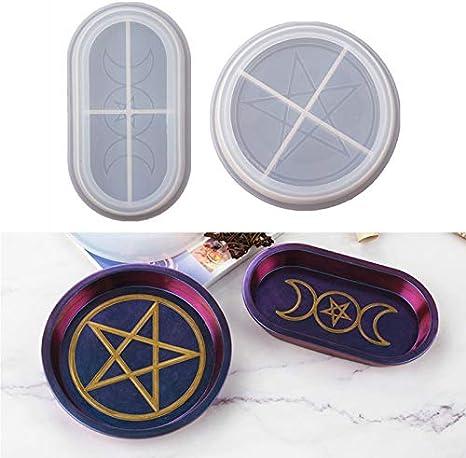 Resin Art Jewelry Dish Altar Decor Triple Moon Tray Resin Moon Pentagram Celestial Room Decor Moon Phase Boho Home Decor Ring Tray