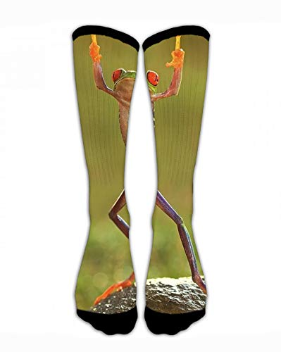 SARA NELL Men & Women Classics Crew Socks Hip Hop Frog with Middle Finger Funny Crazy Unique Thick Warm Cotton Crew Winter Socks Personalized Gift Socks