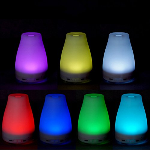 ZJKC 100 Milliliter Essential Oil Diffuser 7 Colors Changing Aromatherapy Ultrasonic Air Humidifier with LED Lights, Cool Mist Diffusers for Home Photo #5