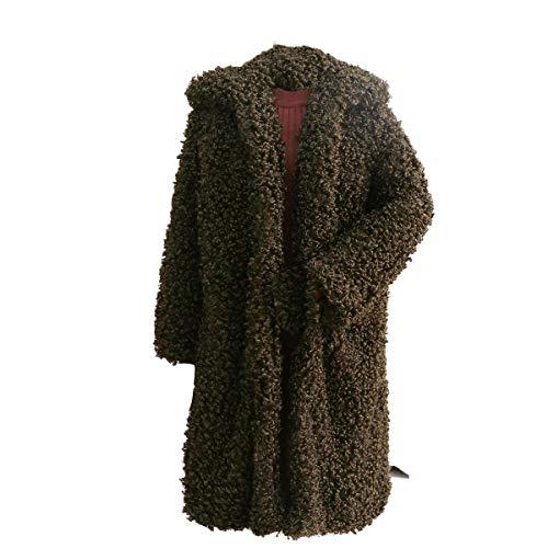 XXL Cappotto Donna cardigan risvolto Size Green Size pelliccia con sintetica Giacca Inverno con Color lungo Plus in in pile Capispalla qSqpxHwr