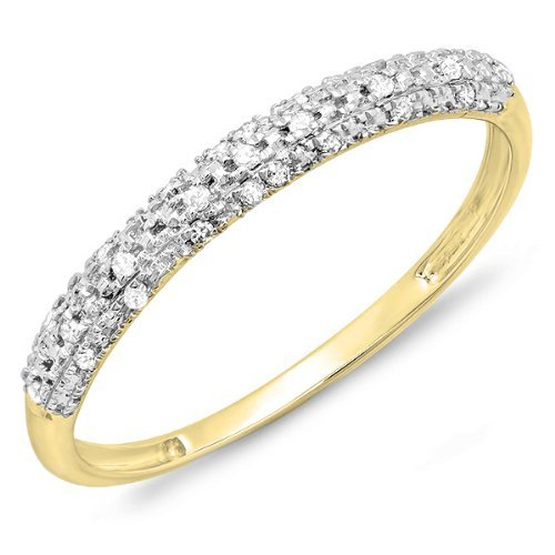 0.10 Carat (ctw) 10k Yellow Gold Round Diamond Ladies Anniversary Wedding Band Stackable Ring 1/10 CT (Size 7.5) by DazzlingRock Collection