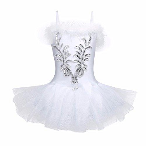 White Swan Ballet Costume (FEESHOW Girls Shiny Leotard Ballet Tutu Skirt Dress Swan Dance Costume with Long Gloves and Hair Clip White 10-12)