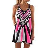LSAltd Women Plus Size Printed Strap Dress Leisure Sleeveless O-Neck Camisole Mini Tank Dress Loose Shirt Dress Hot Pink