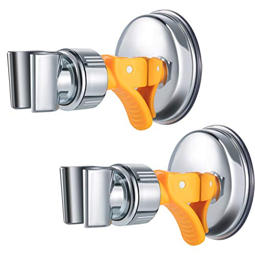 (2 Pack Adjustable Shower Head Holder Bathroom Suction Cup Handheld Shower Head Holder Mounting Bracket Plastic ABS with Chrome Polished for Marble Glass Metal Ceramic (Orange Wrench))