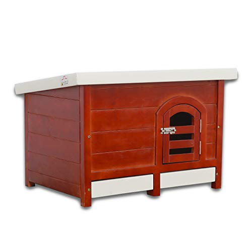(JSY Pine Dog House Kennel with Semi-Open Roof & Detachable Bottom Plank for Indoor/Outdoor (Assemble - M))
