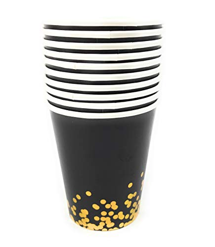 Party Chic Black and Gold Dot Disposable 9 ounce Gold Foil Cup Pack of 50 for Party Wedding Elegant Fancy Decorations Holiday Anniversary Birthday Supplies Bachelorette Bachelor Baby -
