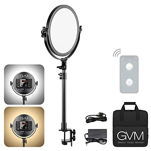 GVM Desk Mount LED Video Light 106 Round LED Panel Light with Built in Diffuser and LCD Display Bi Color Professional