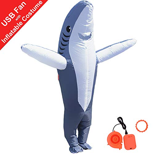 HUAYUARTS Inflatable Costume Blow up Costume Shark Game Fancy Dress Halloween Jumpsuit Cosplay Outfit Gift,Adult (Adult, -