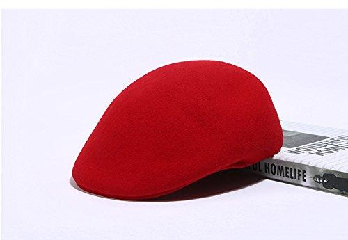 Queenestar Australian Wool Beret Hat Cap For Women Plain Winter Warm Beret Caps (Red) by Queenestar (Image #4)