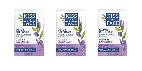 Kiss My Face Pure Olive Oil and Lavender Moisturizing Bar Soap, 8 Ounce, 3 Count