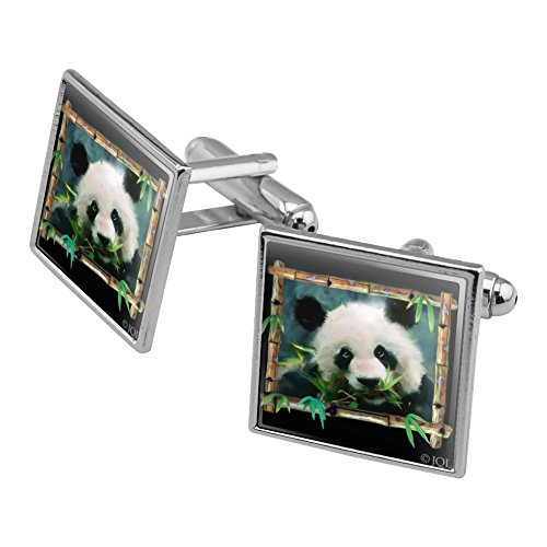 - Graphics and More Panda Bear Bamboo Square Cufflink Set Silver Color