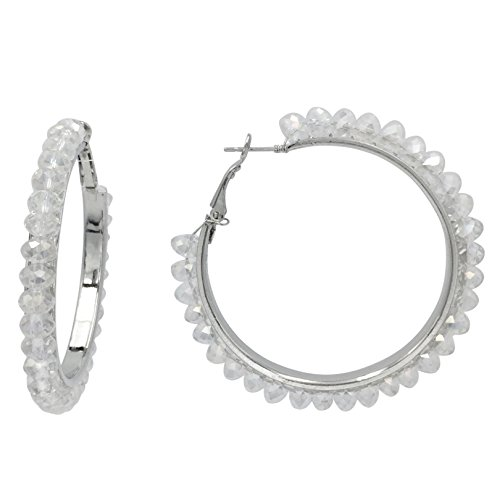 - Beveled Glass Bead Silver Tone Hoop Earrings -Assorted Colors (Clear AB)
