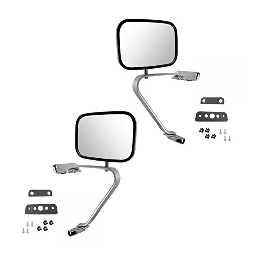 Side View Manual Mirrors Stainless Steel Pair Set For Ford F Series Pickup Truck
