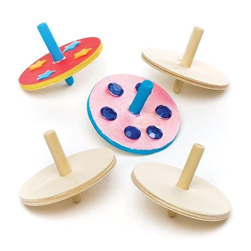 Sorpresine o Regali per Bimbi Confezione da 6 Baker Ross Trottole in Legno per Bambini