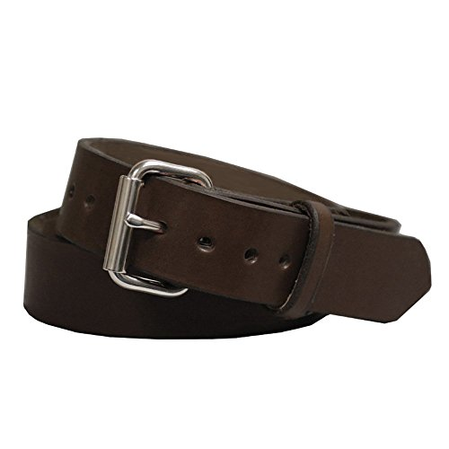 Exos Gun Belt, English Bridle Leather, 14 Ounce - Stainless Steel Hardware - Handmade in The -