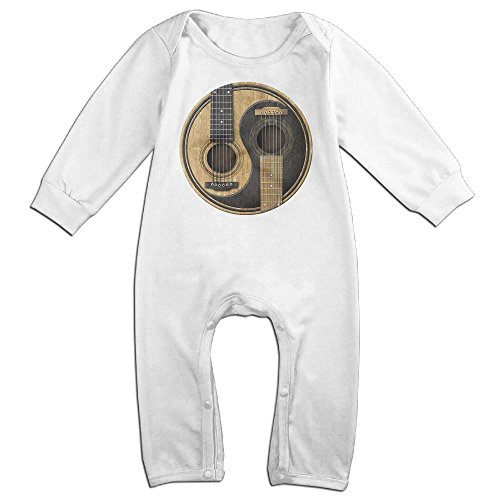 Price comparison product image Old and Worn Acoustic Guitars Yin Yang Long Sleeve Infant Baby Boy Girl Baby Romper Jumpsuit Onsies for 6-24 Months Bodysuit