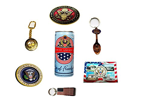 Keychain and Magnet Souvenirs Washington DC Bundle Pack of 7- American Flag- Spoon with Bottle Opener- Seal of The President- Air Of America Can- White House keychain- US Seal Metal - Priority Delivery Time Usps