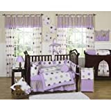 Sweet Jojo Designs 3-Piece Purple and Brown Modern Dots Children's, Kids, Teen Full / Queen Girls Bedding Set