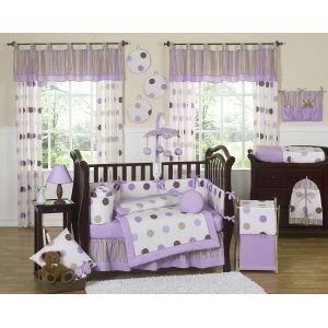Sweet Jojo Designs 3-Piece Purple and Brown Modern Dots Children's, Kids, Teen Full / Queen Girls Bedding Set