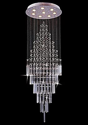 "Saint Mossi Crystal Rain Drop Chandelier Modern & Contemporary Ceiling Pendant Light 8 x GU10 Bulbs Required H69"" X D26"""