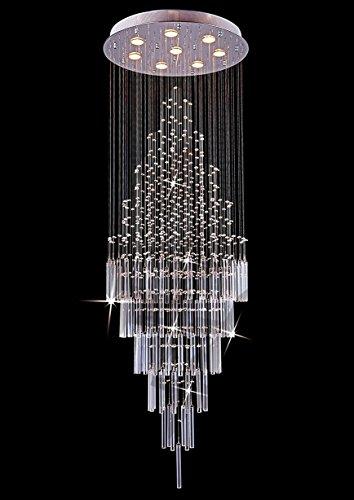 Saint Mossi Crystal Rain Drop Chandelier Modern & Contemporary Ceiling Pendant Light 8 x GU10 Bulbs Required H69″ X D26″