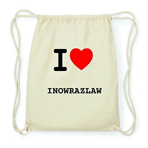 JOllify INOWRAZLAW Hipster Turnbeutel Tasche Rucksack aus Baumwolle - Farbe: natur Design: I love- Ich liebe