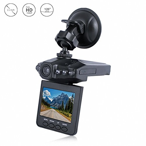 Vehicle Dash Cam, ADiPROD 2.4″ Screen Full HD 1080P Car Camcorder 120 Degree Wide Angle, Car DVR Dashboard Camera with G-Sensor, Loop Recording, Video & Audio