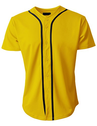 Hat and Beyond Mens Baseball Jersey Button Down T-Shirts Plain Short Sleeve (2X-Large, 1up01_Yellow/Black) ()