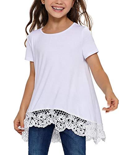 Blibea Girls Clothing Casual Short Sleeve Tunic Tops Blouse Little Girls Ruffled Loose Fashion Tee Shirts Size 10-11 - Cotton Ruffled Jersey
