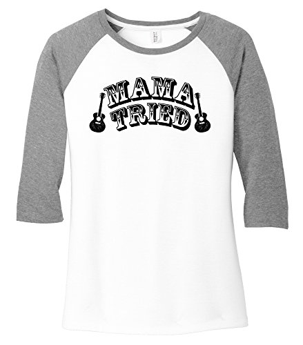 Comical Shirt Ladies Mama Tried Cute Country Music Southern Rebel Grey Frost/White S