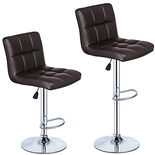 350 lbs Capacity Set of 2 PU Leather Hydraulic Swivel Gas Lift Height Adjustable Bar Stool Brown