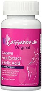 Cassava Root Supplement & Folic Acid, Fertility Supplement for Twins and Healthy Pregnancy (Cassava Root Extract) 800mg capsules. Suitable for vegetarians.