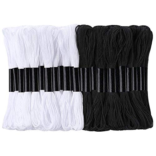 24 Skeins Cross Stitch Threads, Black and White Cotton Embroidery Floss Friendship Bracelets Floss with 12 Pieces Floss Bobbins for Knitting, Cross Stitch Project