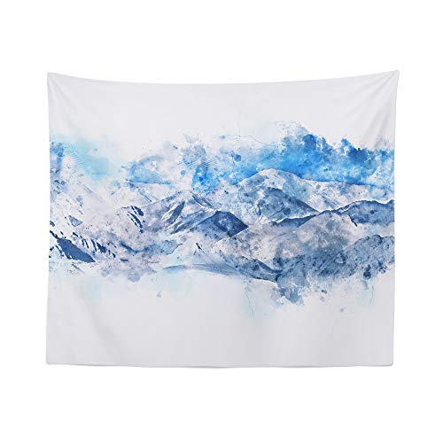 Watercolor Mountain Tapestry Wall Hanging Wilderness Blue Landscape Tapestries Dorm Room Bedroom Decor Art – Printed in the USA – Small to Giant Sizes