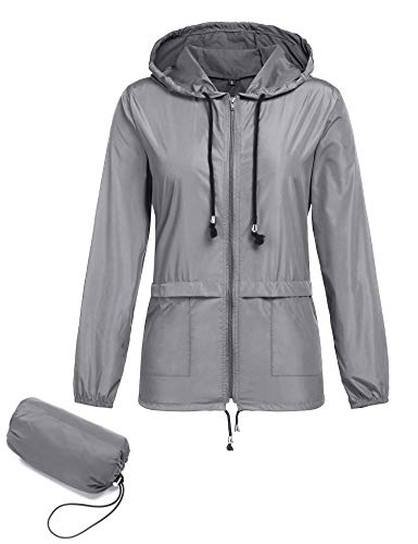 - ZHENWEI Packable Rain Jacket for Women,Active Outdoor Hooded Lightweight Waterproof Raincoat Hiking Windbreaker Coats Grey S