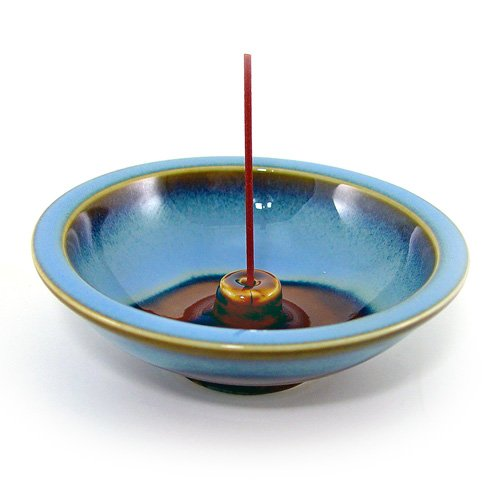 Shoyeido's Denim Round Ceramic Incense Holder - incensecentral.us
