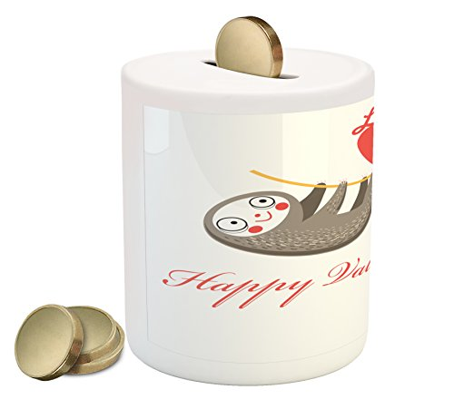 Cheap  Sloth Piggy Bank by Ambesonne, Happy Valentines Day Theme Lovely Tropical Animals..