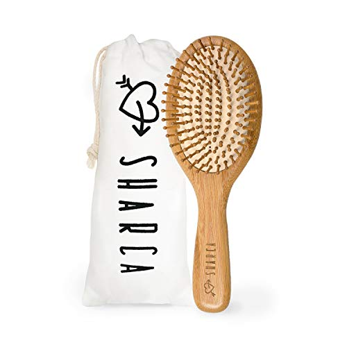 SHARCA Premium Wooden Bamboo Hair Brush with Ball Tipped Bristles from Natural Wood. Organic, Biodegradable, No plastic
