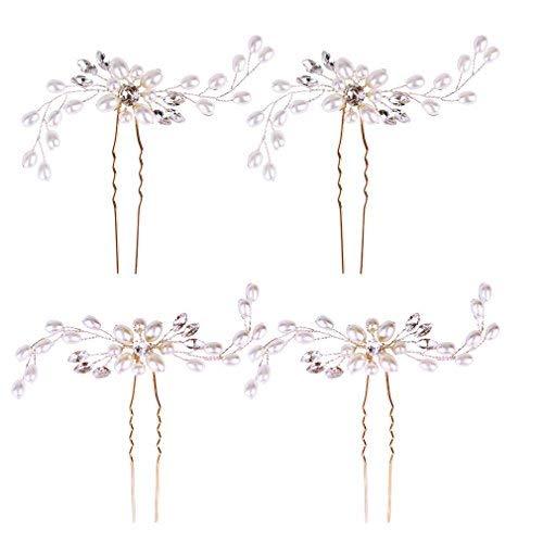 Jaciya 4 Pack Wedding Bridal Crystal Pearl Hair Pins Decorated Hairpins(Silver)]()