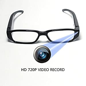 HD 720P Glasses Camera Video Recording DVR wtih 16GB Memory Card Eyewear Hidden Camera Eyeglasses Photo Taking Loop Recording Max Support 32GB SD