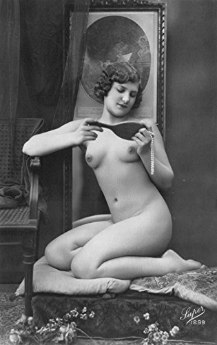 1910 Real Photo Postcard Risquà Topless Nude Woman in a Photo - Rates Usps Shipping Worldwide