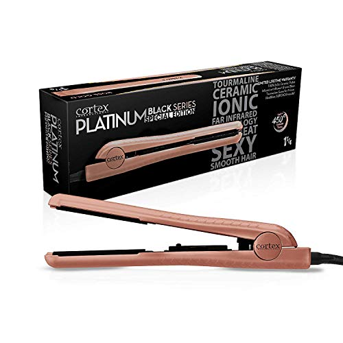 (Cortex International Black Series Gemstone Infused Tourmaline Ceramic Plates 1.25 Inch Professional Flat Iron (Rose Gold))