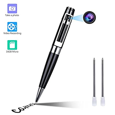 Spy Camera Pen Hidden Camera Meeting Video Recorder HD 1080P Mini Portable DVR Cam Built-in 16GB Micro SD Card + 2 Ink Fills by GooSpy